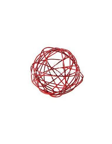 Bte de 6 Boules Metal MM rouge .